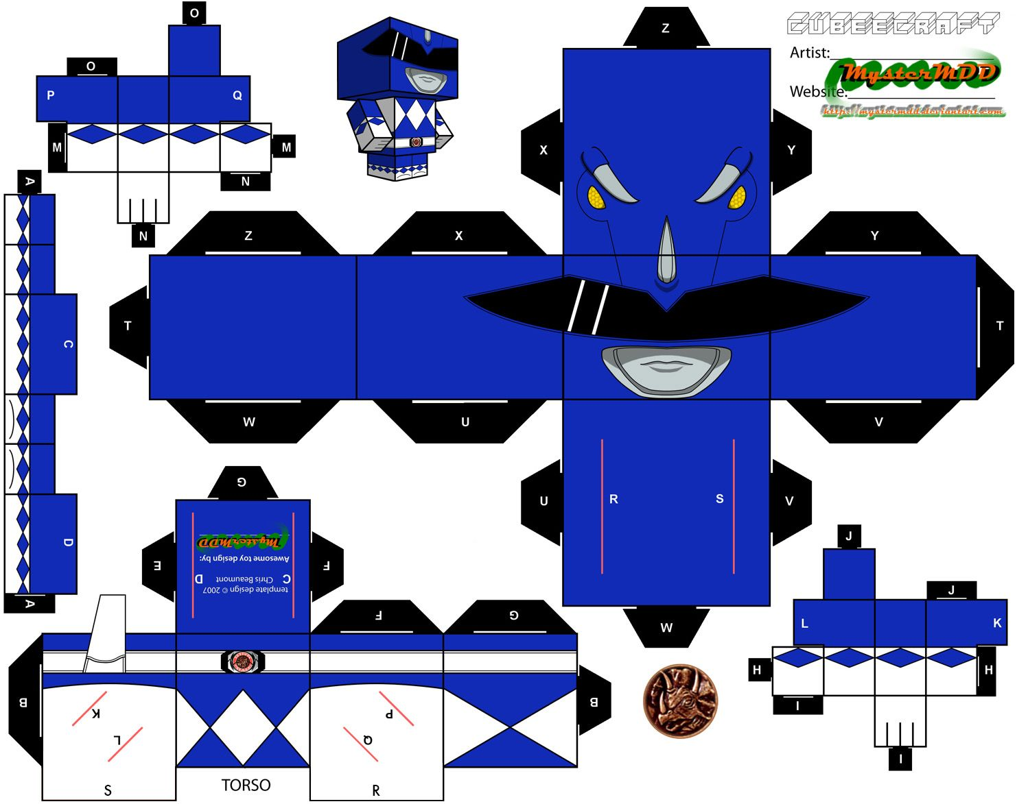 Blue Power Ranger Cubee | Cubee Crafts | Power ranger ...