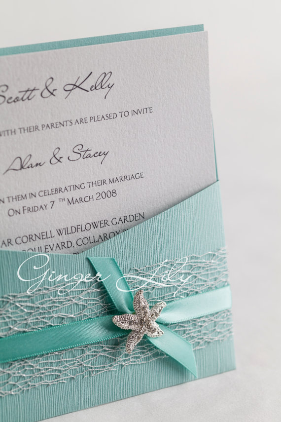 Beach Wedding Invitation Diy Kit Reef Moonstone Pocket Invite 10 Pcs Silver And Blue