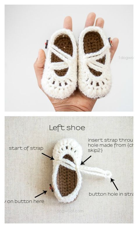 Double Crochet Strapped Baby Mary Janes FREE Pattern | pantuflas ...