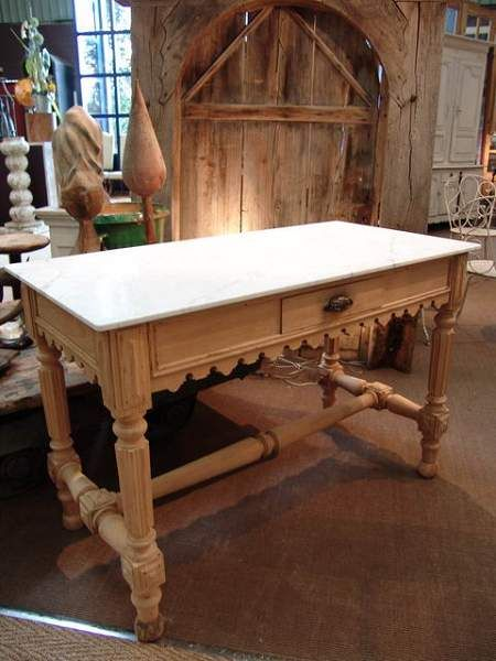French Vintage Butcher Table With White Marble Top Sold
