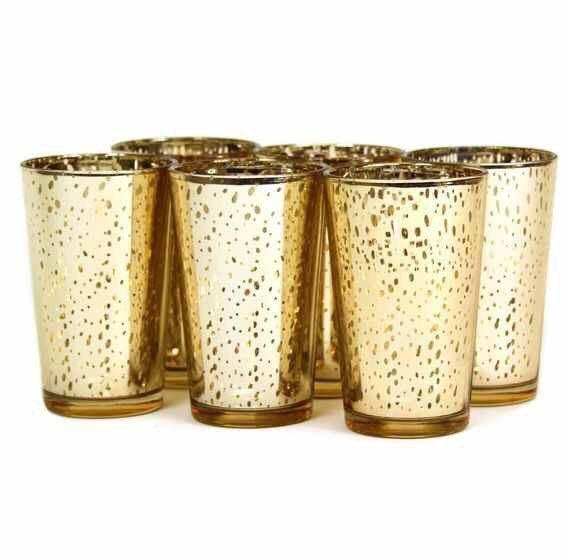 Gold Mercury votives. Tall gold Mercury votives. Let the light shine through beautifully in these exquisite mercury votives.This is for a set of 6 great buy! Or