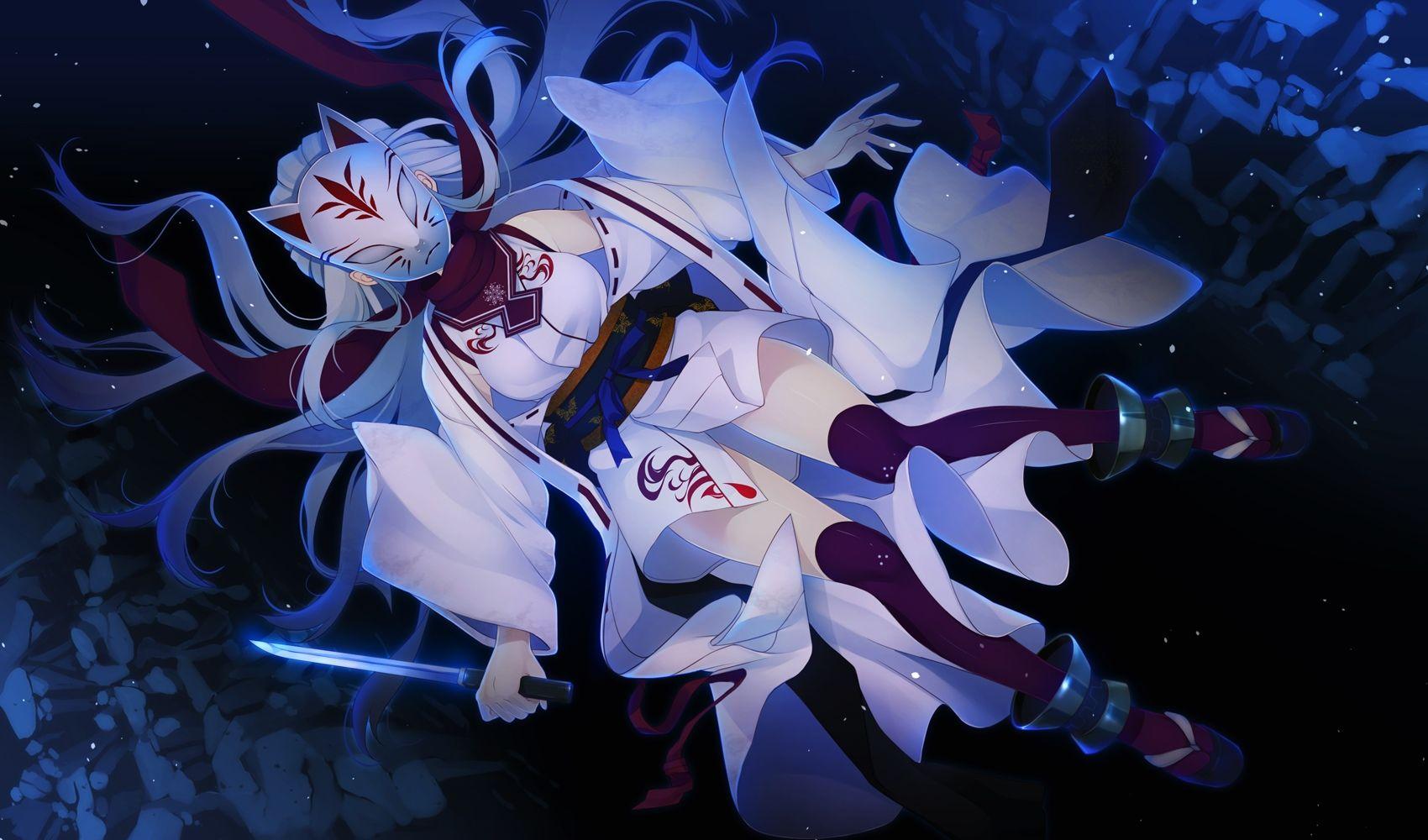 Anime Kitsune mask キャラクターデザイン, イラスト, 可愛いイラスト