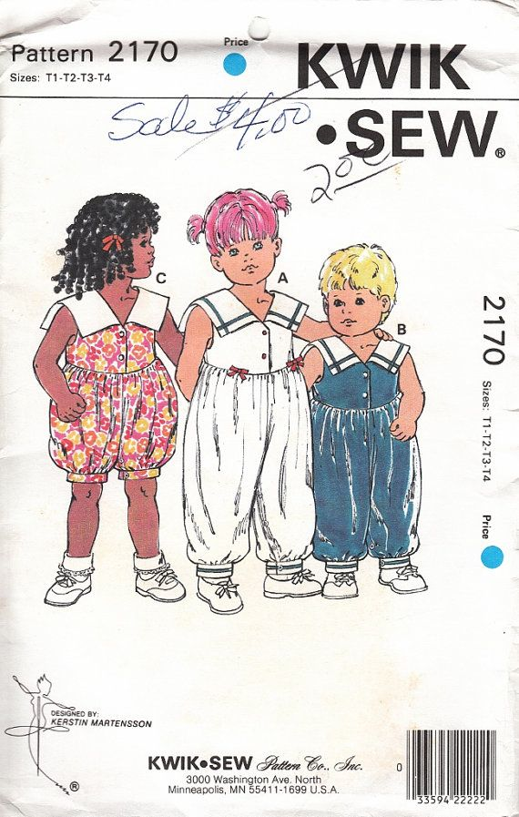 Kwik Sew 2170 Toddler Jumpsuit Romper Sailor Collar by CedarSewing