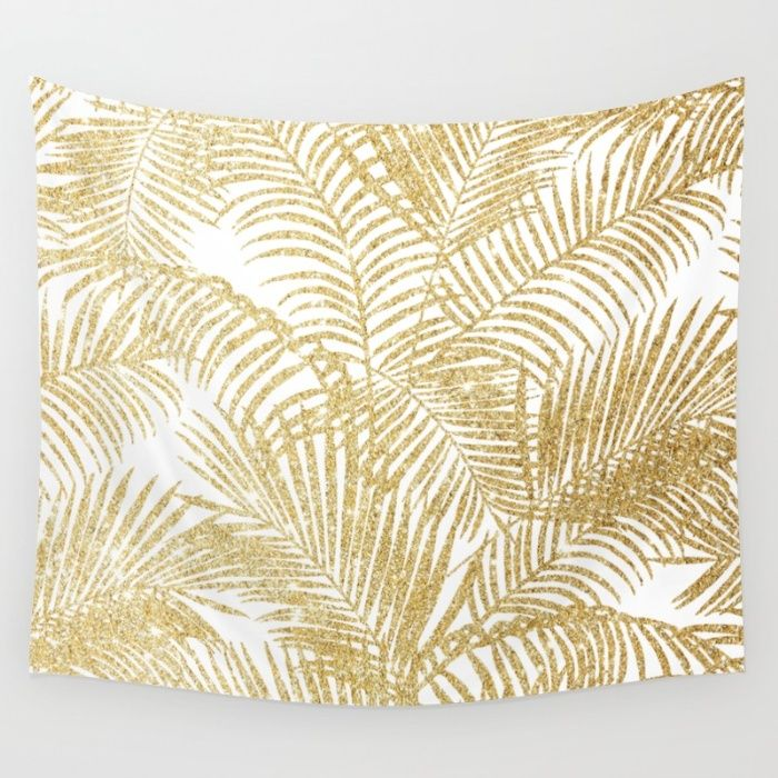 Elegant faux gold glitter tropical plants pattern Wall Tapestry by ...