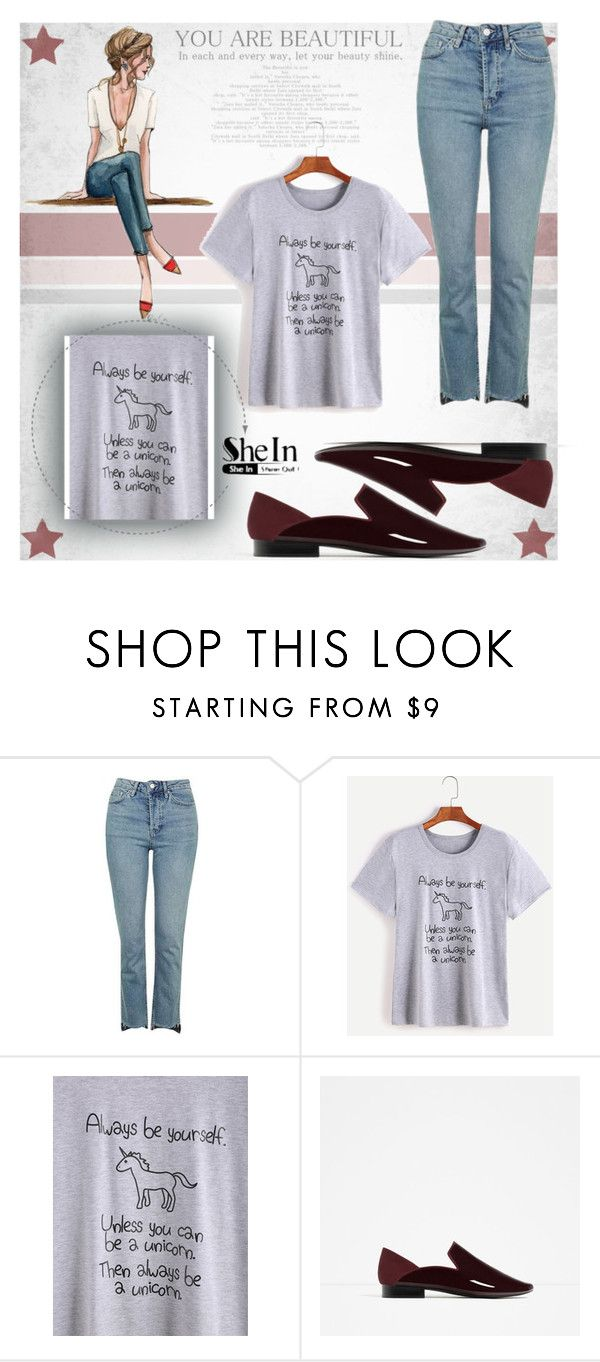 """print t-shirt shein"" by conza44 ❤ liked on Polyvore featuring Topshop"