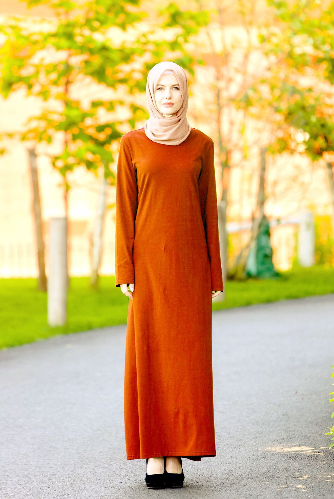 c9d5a0e15566 Burnt Out Orange Long Sleeve Maxi Dress- CLEARANCE | Hijab Tutorials ...