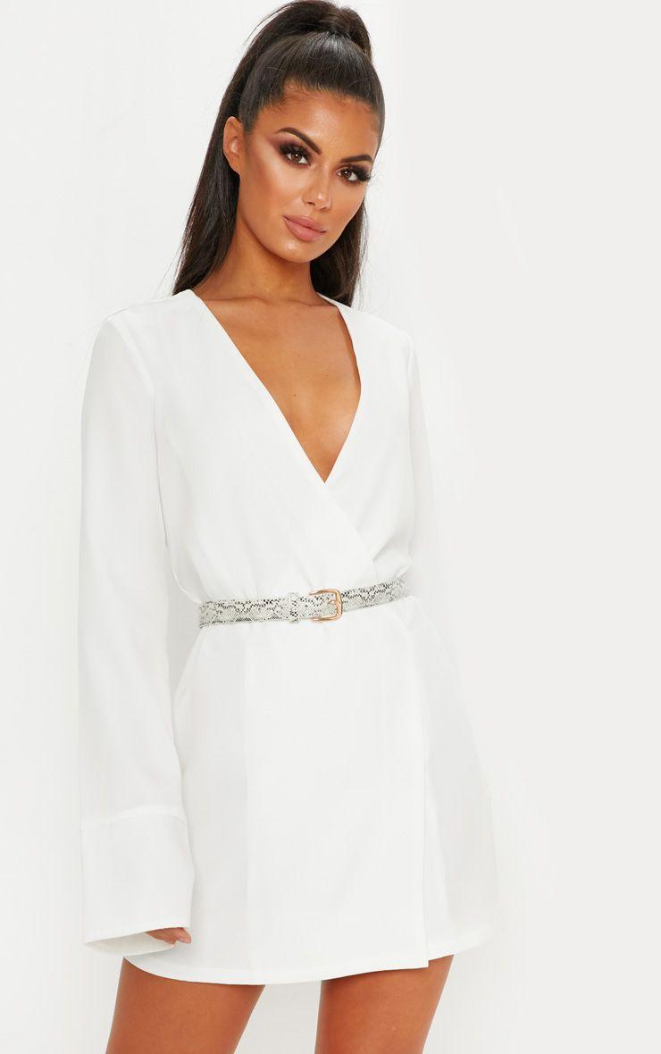 White Plunge Flare Sleeve Blazer Dress Flare Sleeve Dress Blazer Dress Blazer Dress Outfits