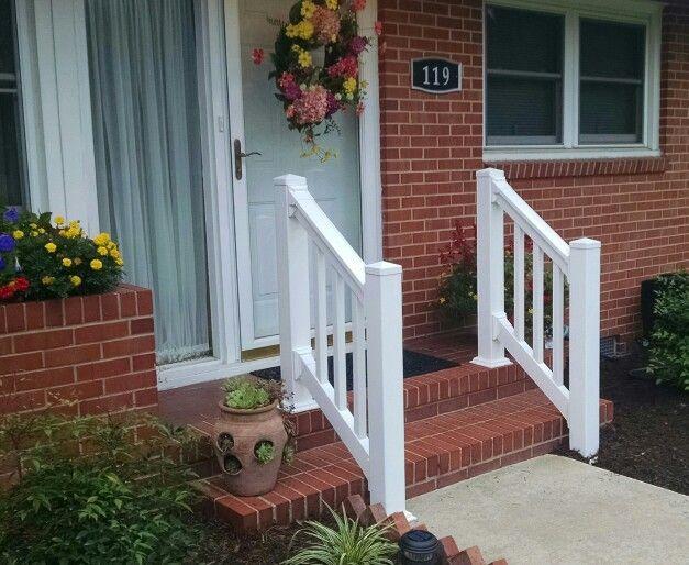 Vinyl hand rail for your stoop. | Vinyl deck railing ...