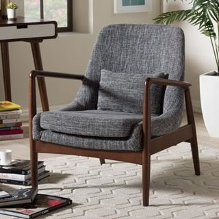 diamond mid century modern grey upholstered accent club chair by