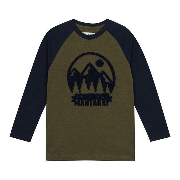 ccfe3c16d Mantaray Boys' khaki textured 3D logo slogan top | Debenhams | Boys ...