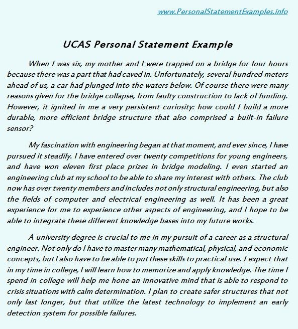 UCAS Personal Statement Examples Serves the Basic Need    www - best of 7 scholarship personal statement sample