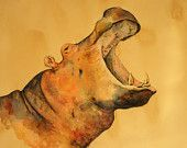 "ORIGINAL-Hippo head XXL Large Size trophy safari africa african watercolor hippo 39x27""-art original Watercolor painting by Juan bosco"