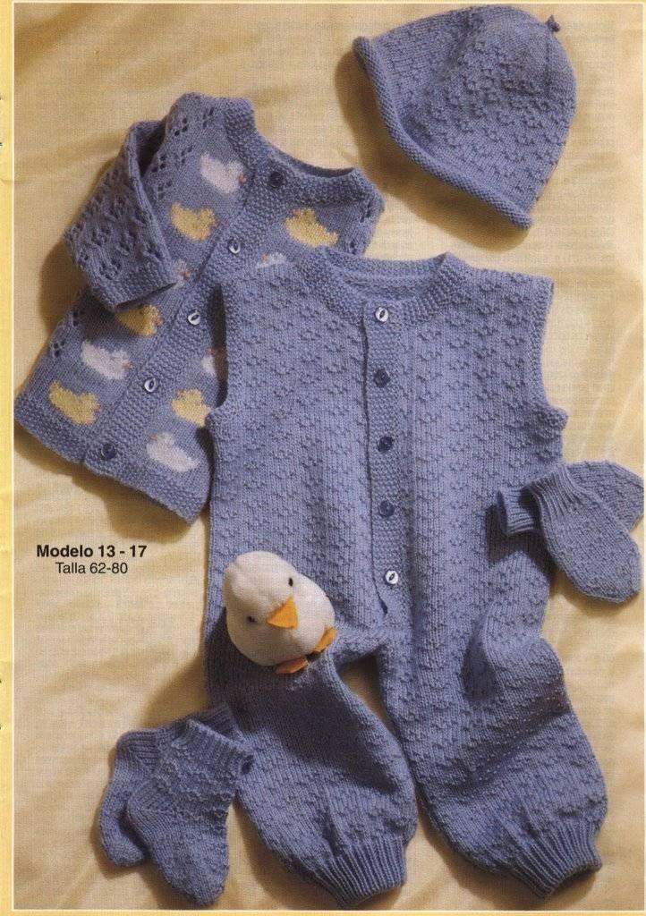 7f2a4c7de Trajes de bebés tejidos de una sola pieza    Modelo de enteritos para bebé  para tejer a dos agujas    Ositos tejidos de punto