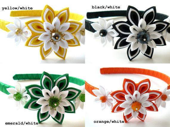 MORE COLORS-PICK. Kanzashi Fabric Flower headband. by JuLVa