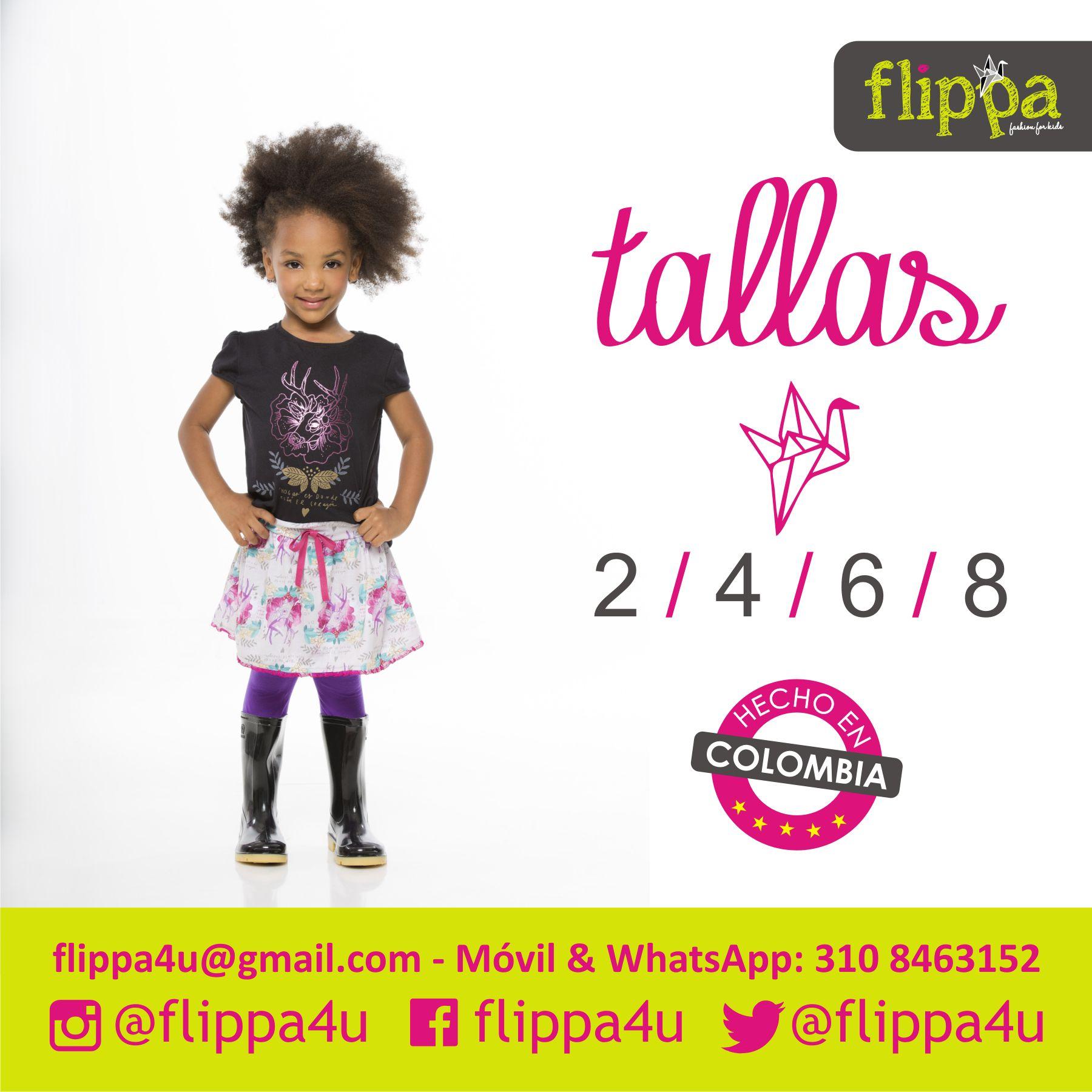 """#Flippa4U con """"Diseños y estampados exclusivos"""" contamos con las siguientes Tallas 2 / 4 / 6 / 8."""