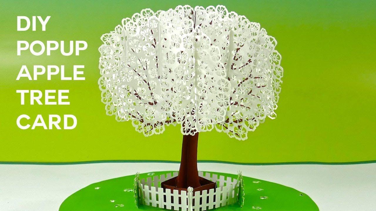 Popup apple tree card tutorial d sliceform on the cricut
