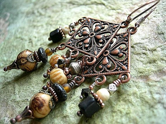 Earthy Color Chandelier Earrings .Gypsy Glam, Tribal Style .Ornate Antiqued Copper. $36.00