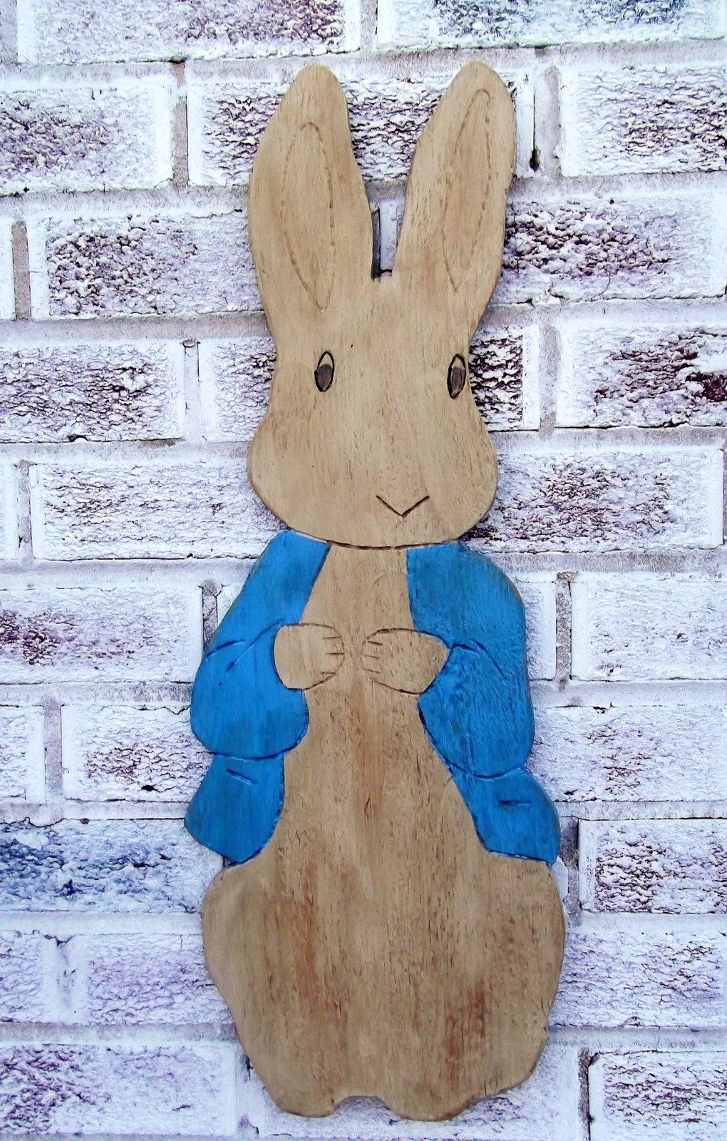 Supersized wood Easter Bunny, Peter Cottontail, Beatrix Potter Peter Cottontail! For front door decor, yard art, baby nursery decor!