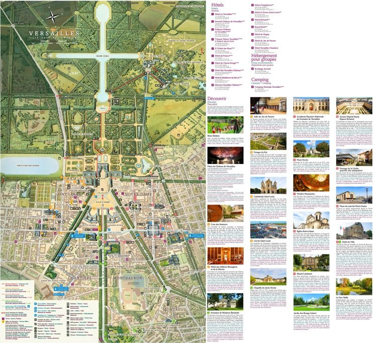 Versailles city hotels and sightseeings map Maps Pinterest