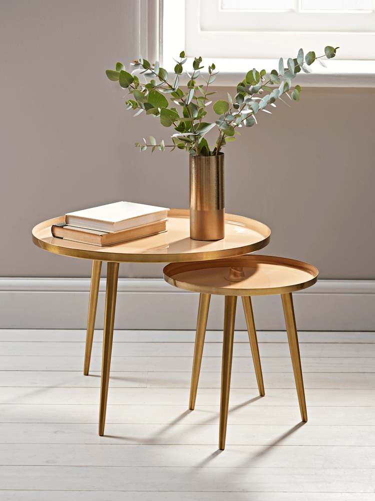 New Enamelled Tables Blush Furniture In 2019 Round Coffee