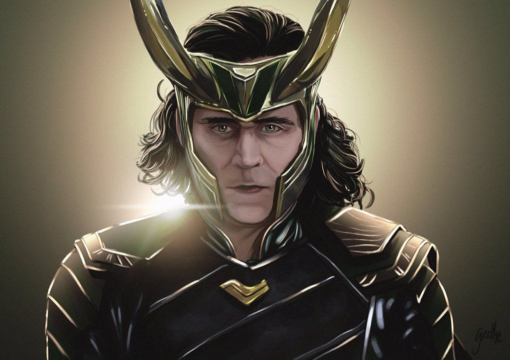 "Artwork by Grethe Rosseaux. ""Thor: Ragnarok is coming, so I drew a Loki!""  https://twitter.com/LadyFenyx/status/852276734720446465"