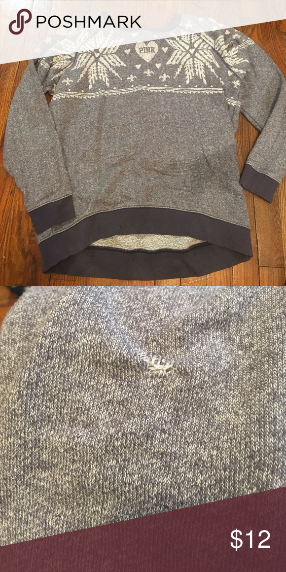 Pink oversized sweatshirt Great condition. Printed knit pattern. Size small. Fits small-large since it is oversized. Loose fit. Small snag in back has been repaired. Shown in photo Victoria's Secret Sweaters