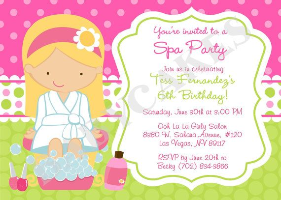 Spa Party Birthday Invitation DIY Print Your Own by jcbabycakes – Printable Spa Party Invitations