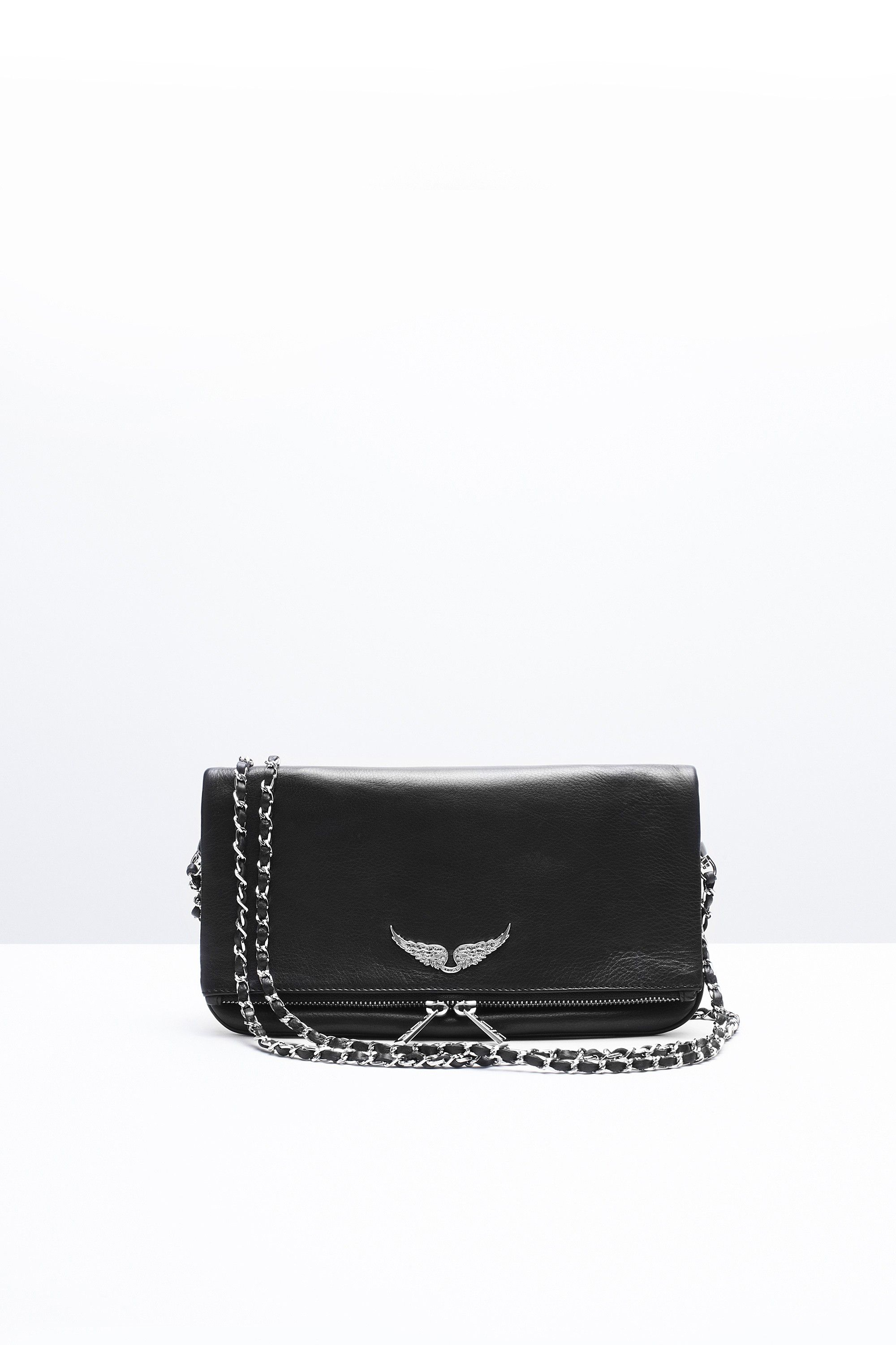 4b0ebcd10 Zadig & Voltaire zip clutch, two removable chains interlaced with leather,  can be worn
