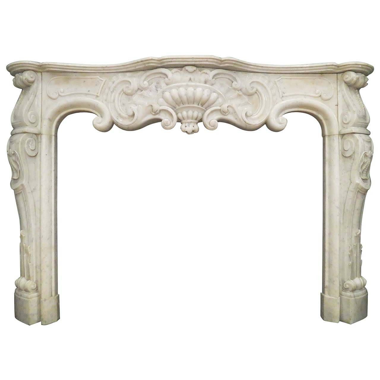 french louis xiv style white carrara marble fireplace 19th