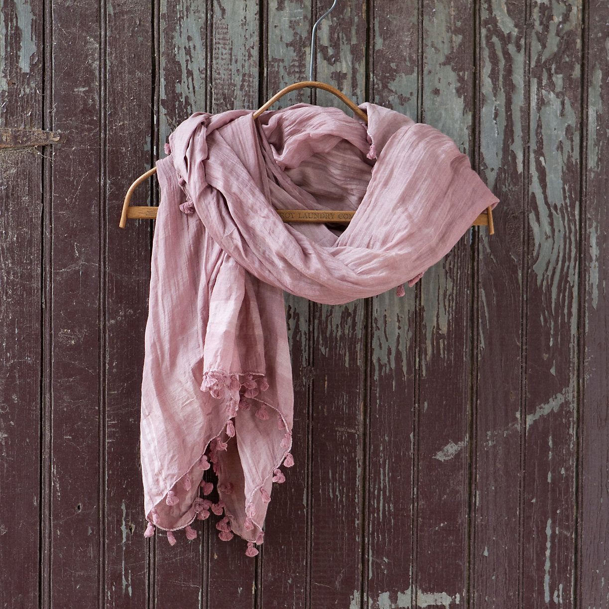 """Big enough to drape over your shoulders as a shawl or wrap as a scarf, this super-soft blend of cotton and silk with subtle, woven details and a playful fringe is just the thing to slip in your tote when you're on the go. - Silk, cotton- Hand wash and dry flat- Imported37""""W, 79.5""""L"""