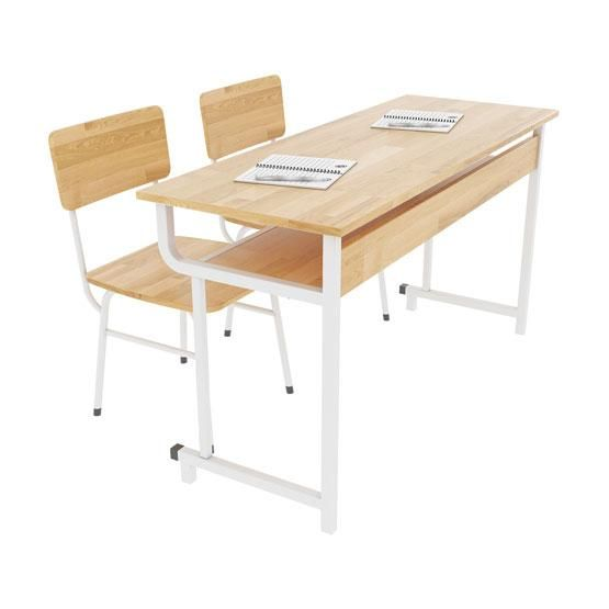 Rubber wood school desk and chair BHS-19-05CS