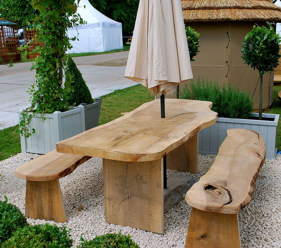 Solid Cedar Wood Garden Table And Two Benches Wooden Garden Furniture Diy Garden Furniture Outdoor Furniture Decor