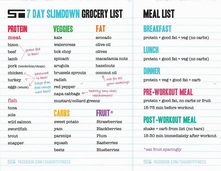 Shaun TS  Day Slim Down Menu Plan  Beachbody Coach