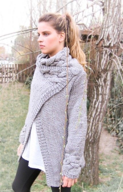 5b60b3ad74 hand knit cardigan RIONA coat warm grey cowl neck braid cables wool.   155.00