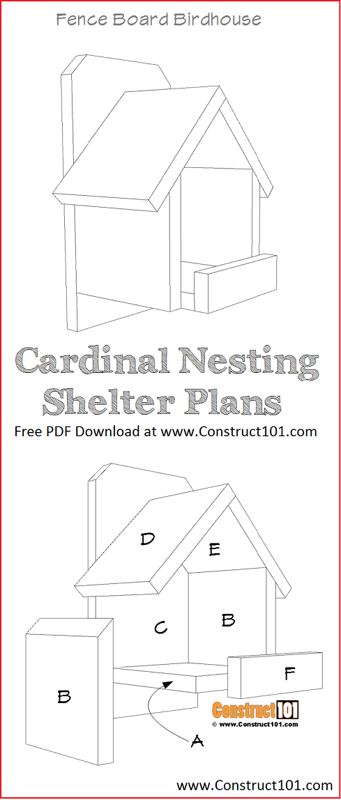 Cardinal Nesting Shelter Bird House Plans PDF Download