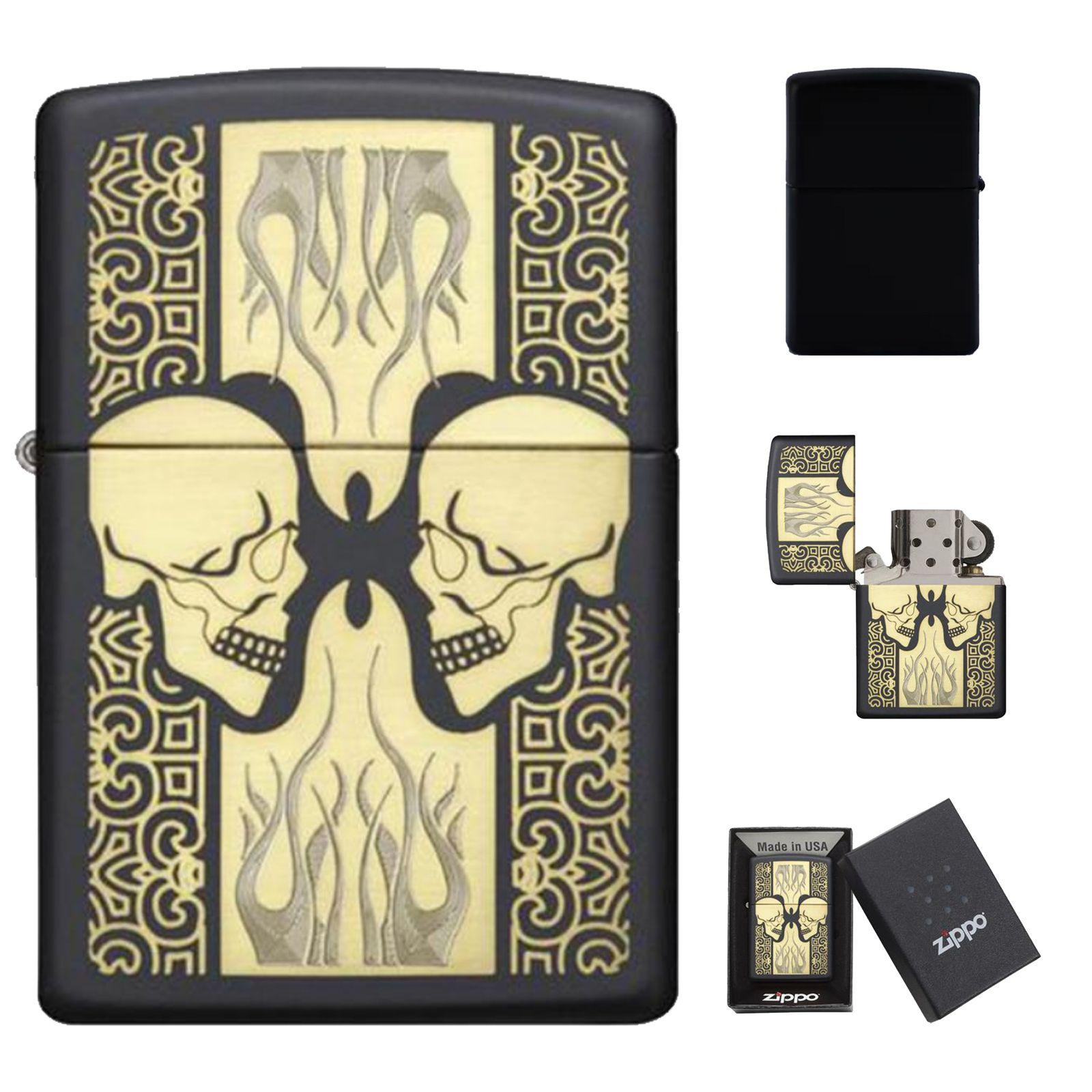 Zippo Lighter 29404 Skull Emblem Gold Armor Black Matt Vintage Windproof Gift Gold Armor Zippo Lighter Skull
