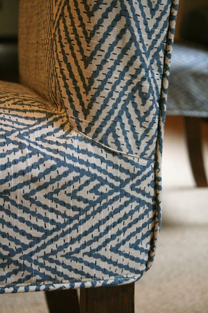 Custom Slipcovers By Shelley: Parson Chairs   Top Stitched Details