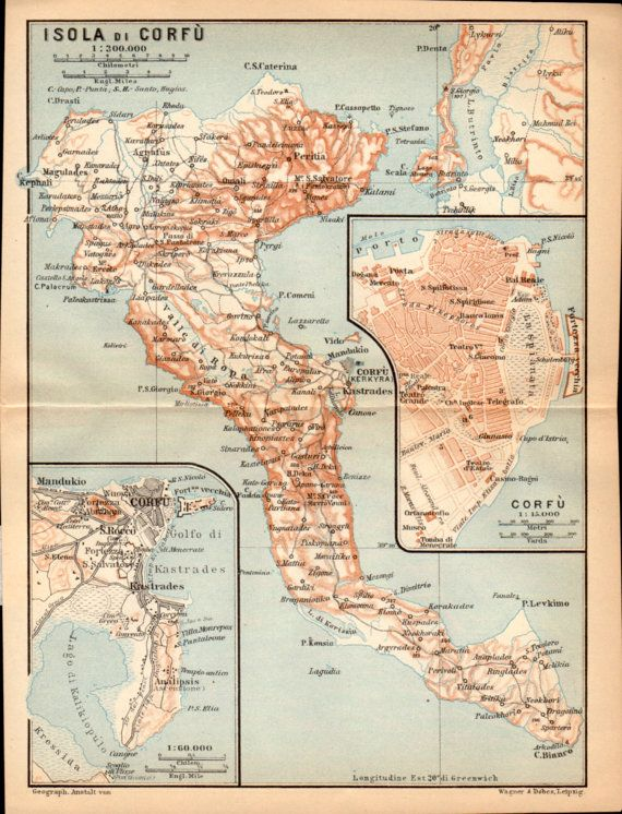 1908 Greek Islands Antique Map Corfu Greece Isola di Corfu