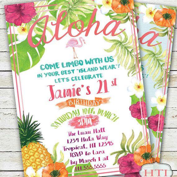 Luau Birthday Invitation Luau Invitation Hawaii by Hottomatoink2