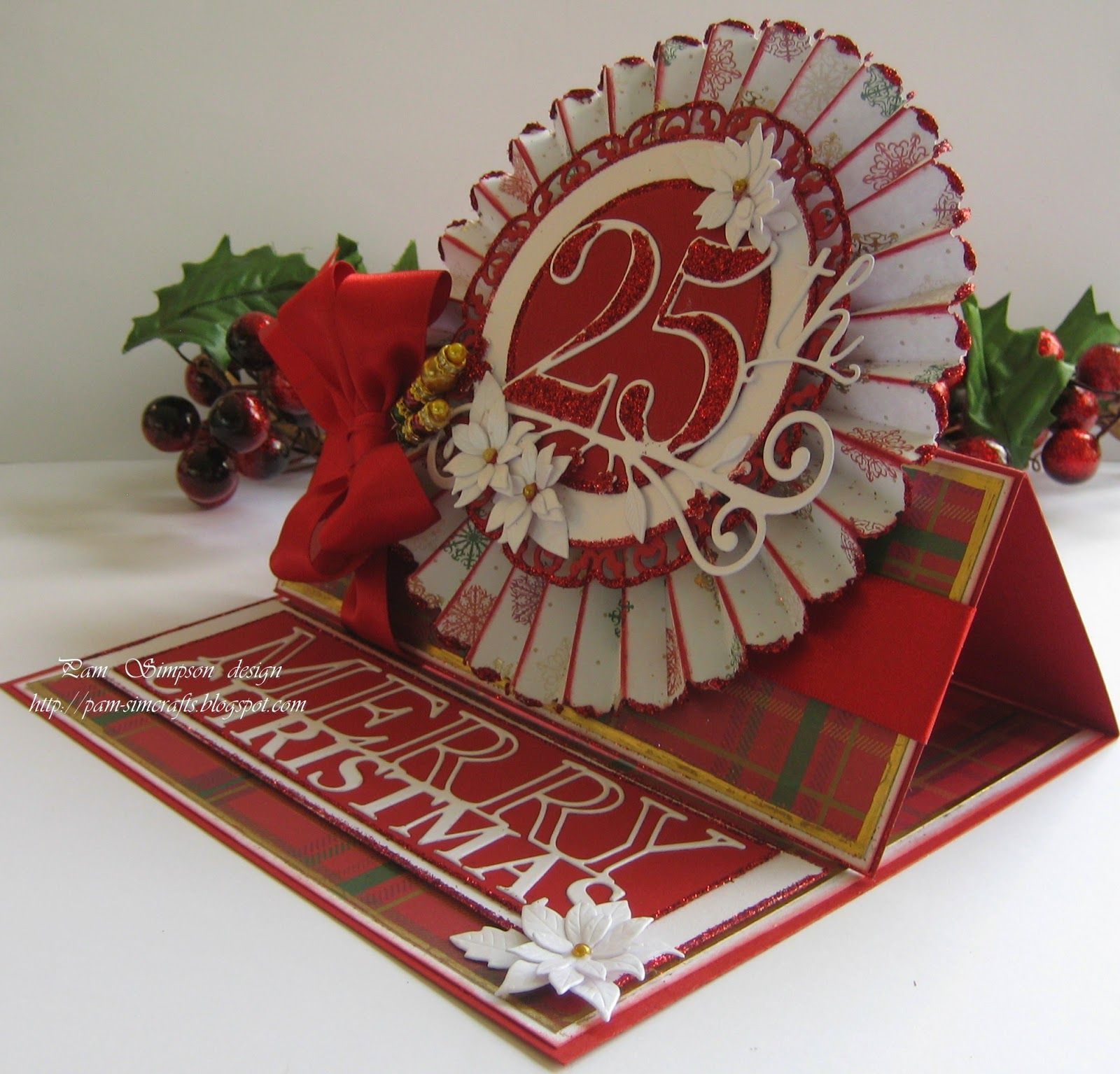 pamscrafts: Rosette Easel Christmas Card and tutorial.