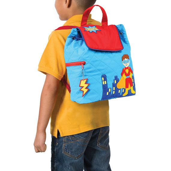 d592a3e7b53c Superhero Blue Quilted TODDLER Backpack Stephen Joseph®