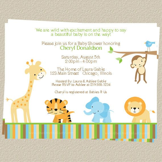 jungle baby shower invitations, zoo or safari theme, set of, Baby shower invitation