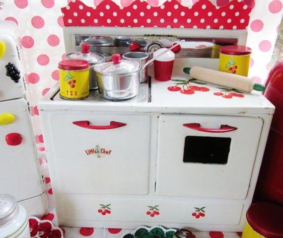 Vintage Toy Kitchen Set: Vintage Toy Tin Cherry Kitchen Play Stove Child Dishes Red