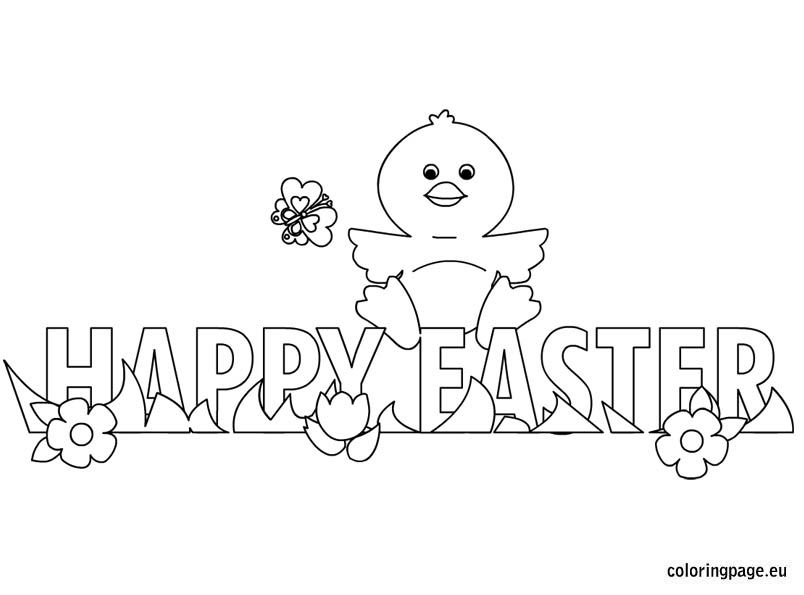 happy easter chick coloring page
