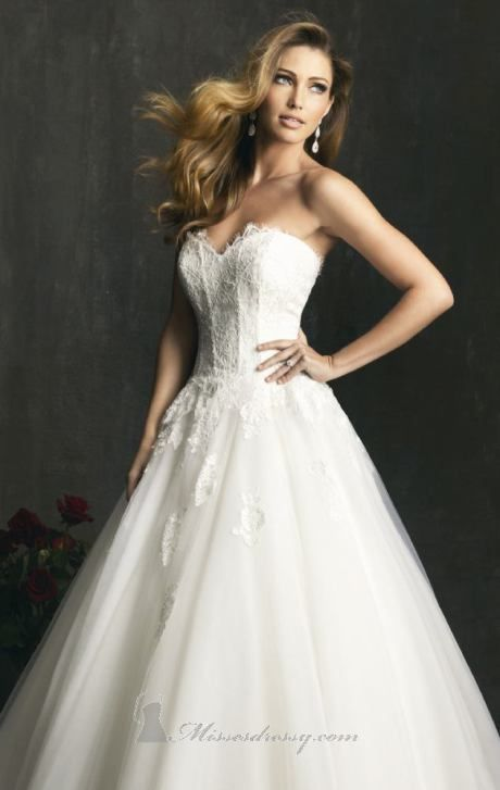 Structured Lace and English Net Gown by Allure Bridals ...