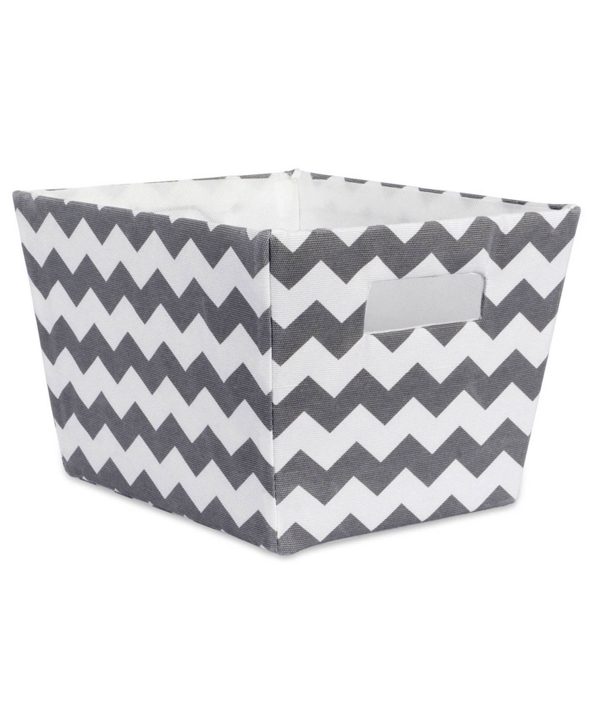 Polyester storage bins are a fun and creative way to organize. Wrapped in polyester fabric these storage bins have a cardboard core on sides and bottom to give shape and add structure while still allowing bins to fold flat when not in use.