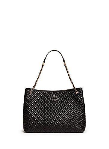 Tory Burch Marion Quilted Tote Black Leather Bag Handbag Designer