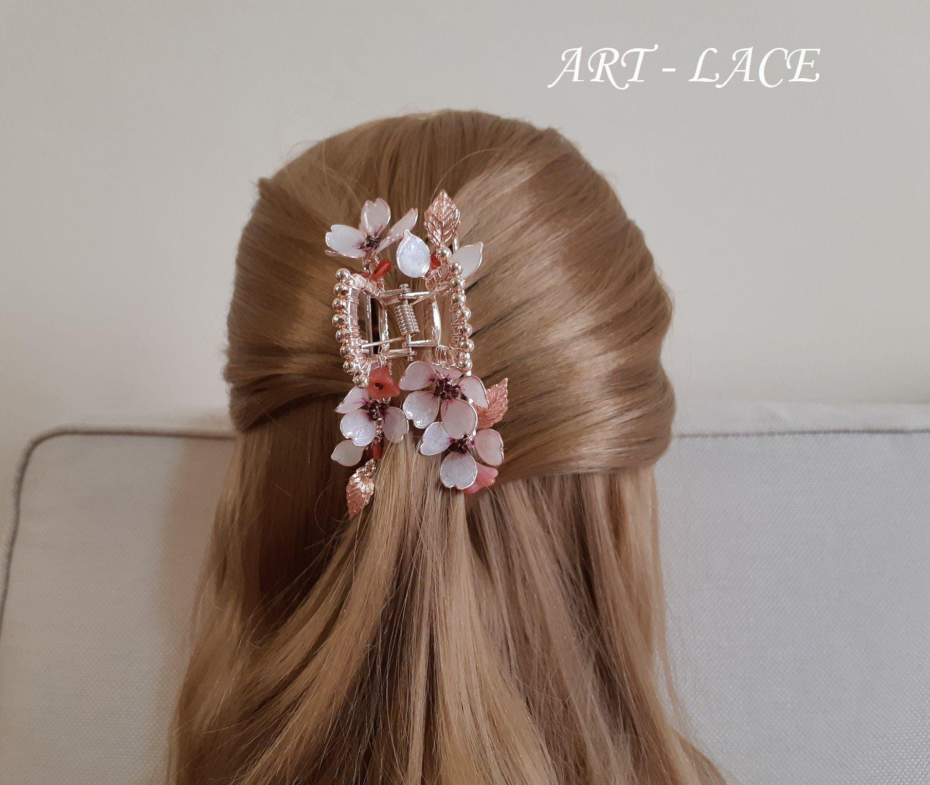 Bridal Cherry Blossom Hair Claw Clips Rose Gold Jaw Clips Etsy Pink Hair Clips Bridal Hair Clip Hair Claw