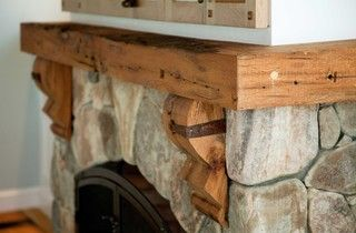 Wooden Mantle With Decorative Brackets