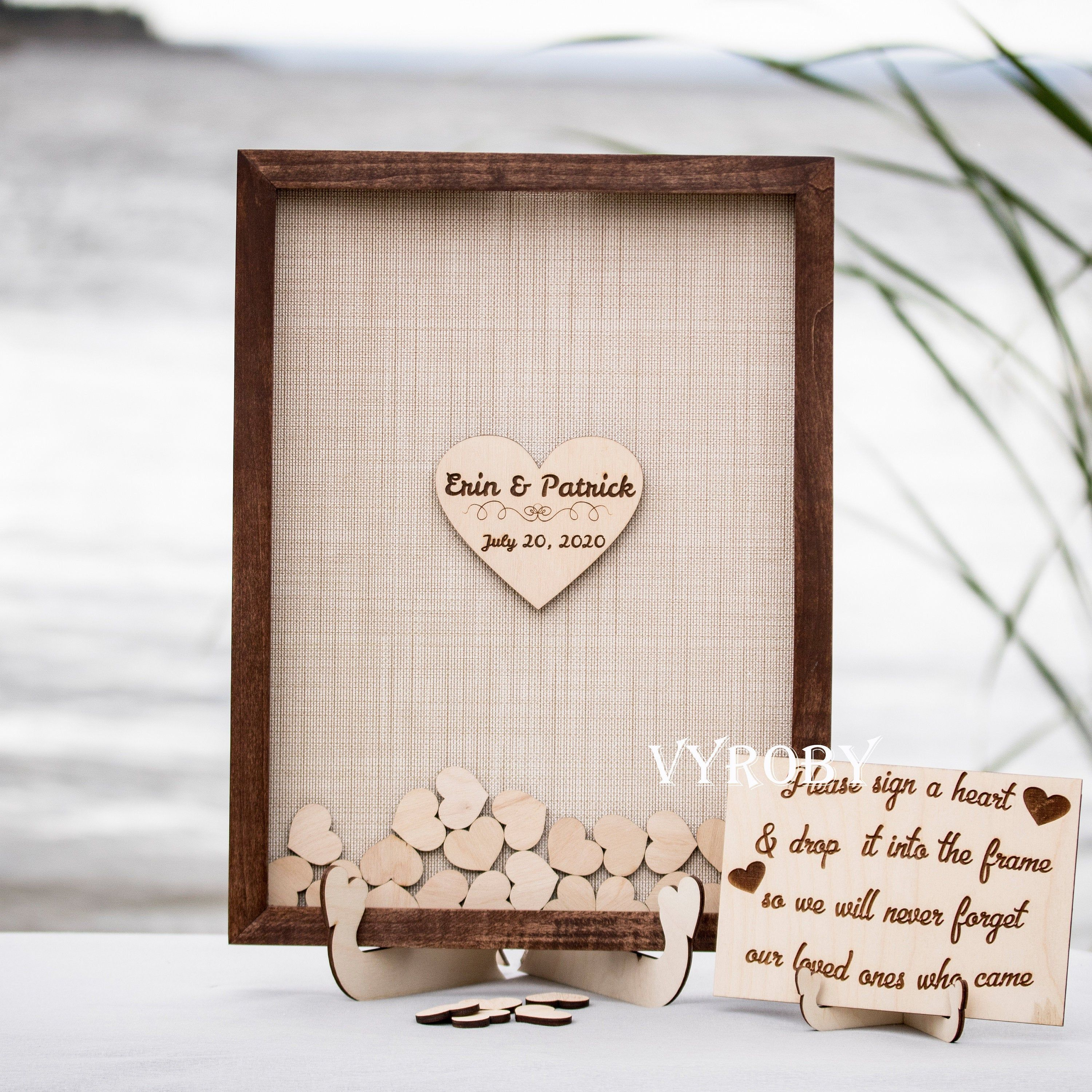 Rustic Wedding Guest Book Alternative Hearts Wedding Sign In Etsy In 2020 Drop Box Guest Book Personalized Wedding Guest Book Rustic Wedding Guest Book Alternative